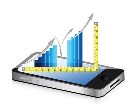 technology Tape measure bar graph concept illustration design over white