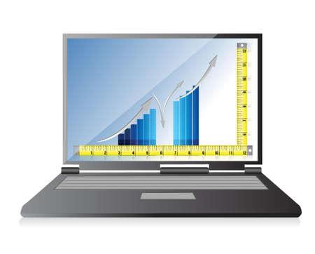 centimetre: technology Tape measure bar graph concept illustration design over white