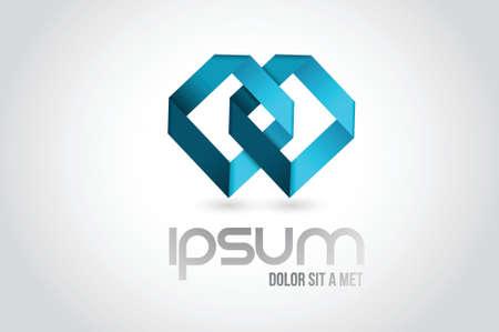 白でチームワーク リンク ロゴ シンボルのイラスト デザイン