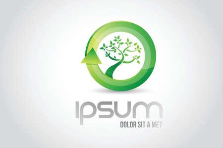 eco tree logo symbol illustration design over white