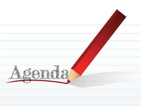 event planning: pencil writing the word Agenda. illustration design over white Illustration