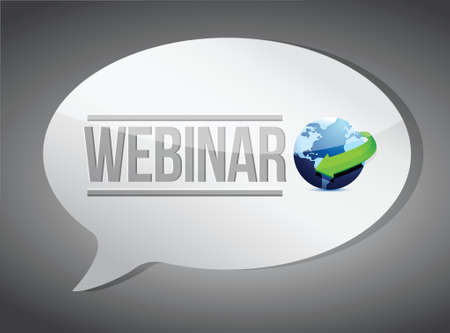 Education concept: Webinar message illustration design over grey