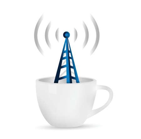 boardcast: Internet Hotspot, illustration design over a white background