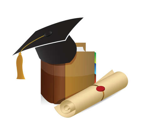 education knowledge graduation illustration design background over white Vector