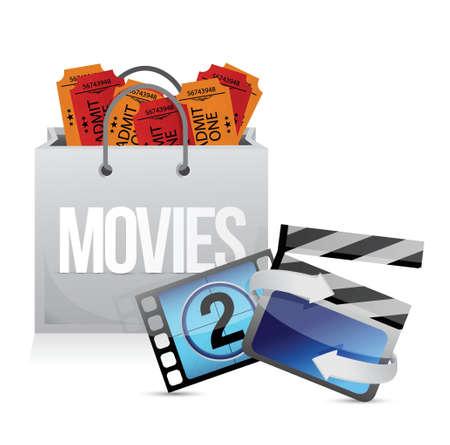 shopping bag with cinema illustration design over white Stock Vector - 20208549