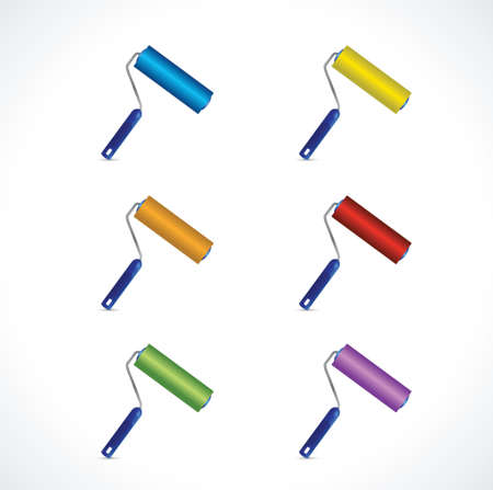 three dimensions: different color Roller brushes. illustration design over a white background