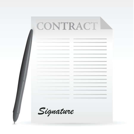 autographing: contract and pen. illustration design over a white background