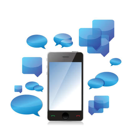 a cellphone chat concept illustration design over a white background Vector