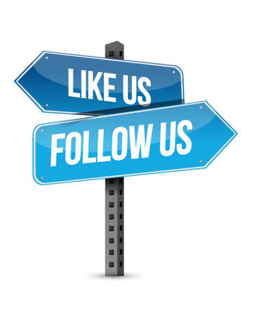 advertise with us: like us and follow us street sign illustration design over white