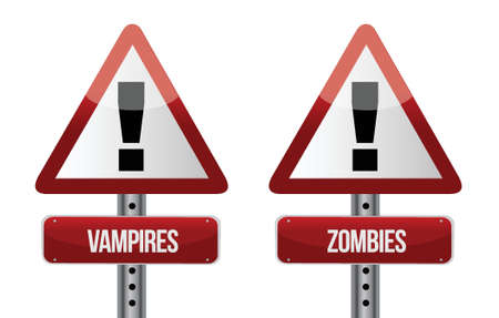 beware: Beware of Vampires and Zombies illustration design over white