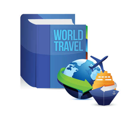 book with a world travel concept title illustration design over white