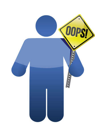 man, person with a oops sign in hand. illustration design Ilustração