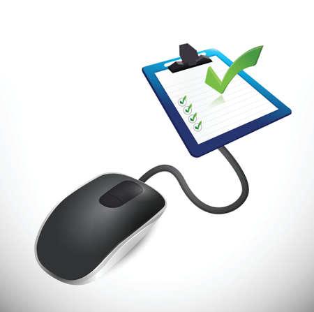 test results: il mouse collegato ad un questionario. illustrazione di progettazione Vettoriali