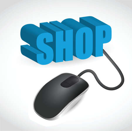 illustration of text shop and computer mouse over white background
