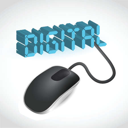 modern blue computer mouse connected to the blue word Digital - LCD Style Stock Vector - 20240781