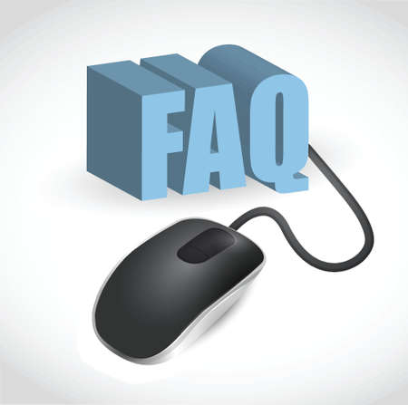 modern gray computer mouse connected to the blue word FAQ Illustration