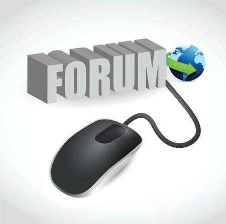modern grey computer mouse connected to the grey word Forum Stock Vector - 20240775