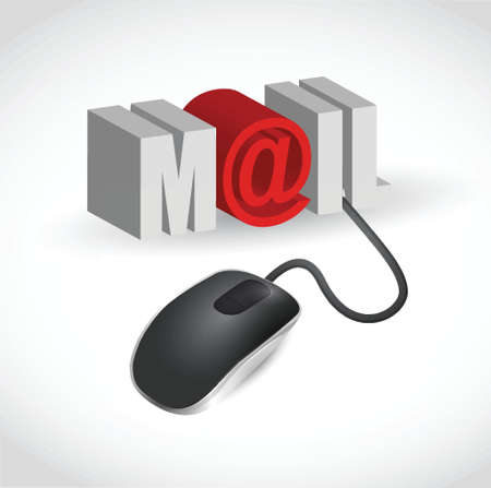 mouse and word mail illustration design over white Vector