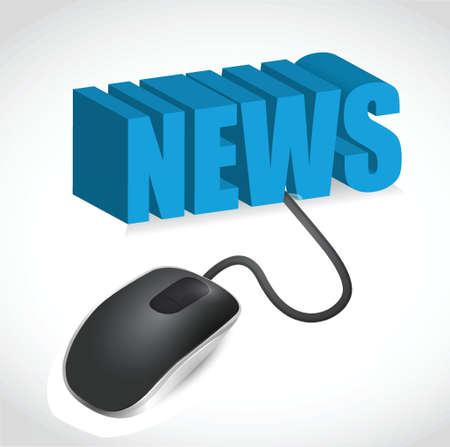 newspaper headline: Computer mouse and news word illustration design over white Illustration