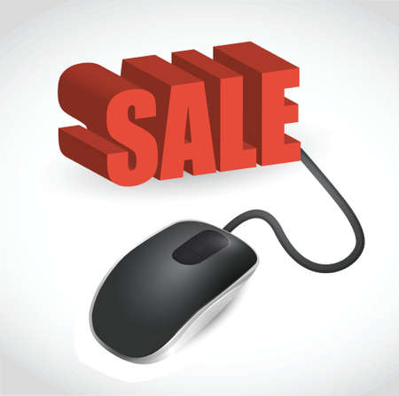 Computer mouse and word Sale illustration design over white