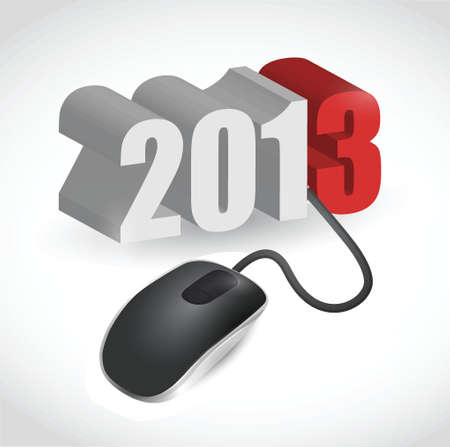 newyear: computer mouse connected to 2013 illustration design over white Illustration