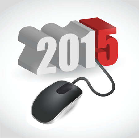 newyear: computer mouse connected to 2015 illustration design over white