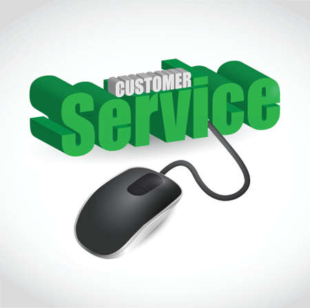 customer service sign and mouse illustration design over white Vector