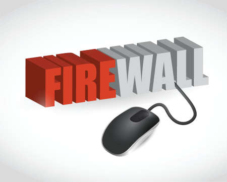 firewall sign and mouse illustration design over white