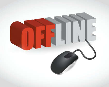 offline: offline sign and mouse illustration design over white