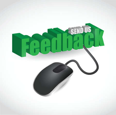feedback sticker: feedback sign and mouse illustration design over white Illustration