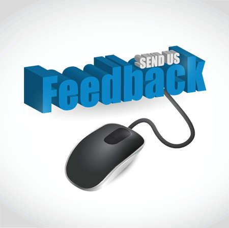 feedback: feedback sign and mouse illustration design over white Illustration