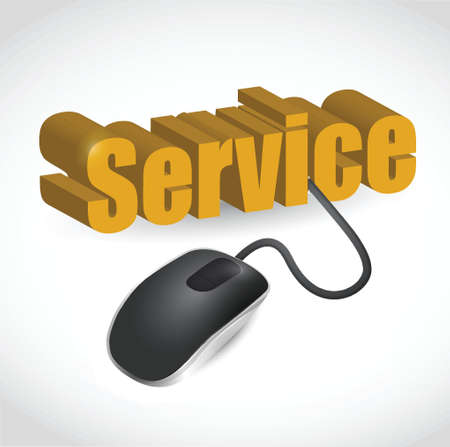 dsl: service sign and mouse illustration design over white