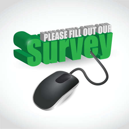 customer survey: survey sign and mouse illustration design over white