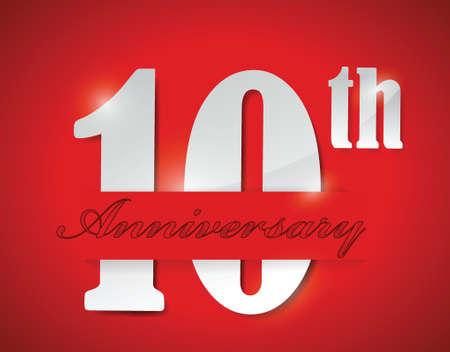 빨간색 배경 위에 10 주년 기념 그림 디자인 일러스트