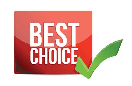 best choice and check mark illustration design over white