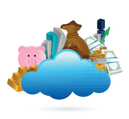 cloud computing and business concept illustration design over white Stock Vector - 20240661