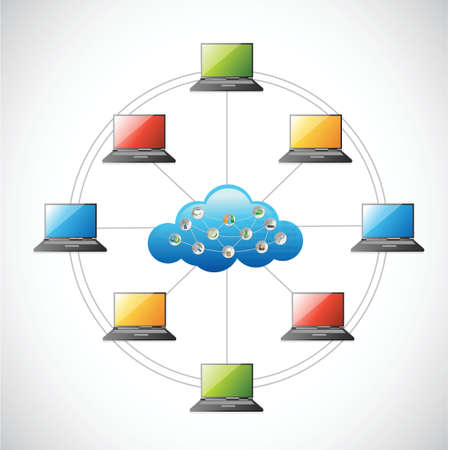 clouding: Cloud technology network illustration design over a white background