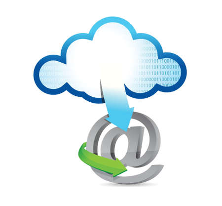 cloud computing at sign illustration design over white