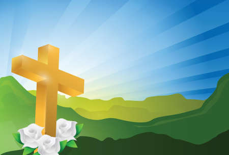 church service: religious cross heaven landscape illustration design graphic