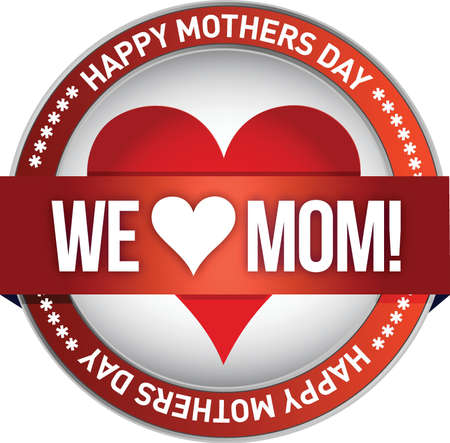 Happy mother s day rubber stamp seal illustration design Vector
