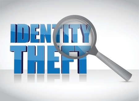 白い背景の上の調査の下で個人情報の盗難  イラスト・ベクター素材