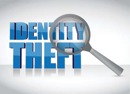 office theft: Identity theft under investigation over a white background