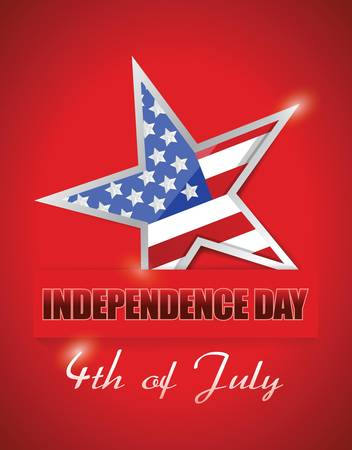 postcard: Independence Day 4 of July, star flag illustration design