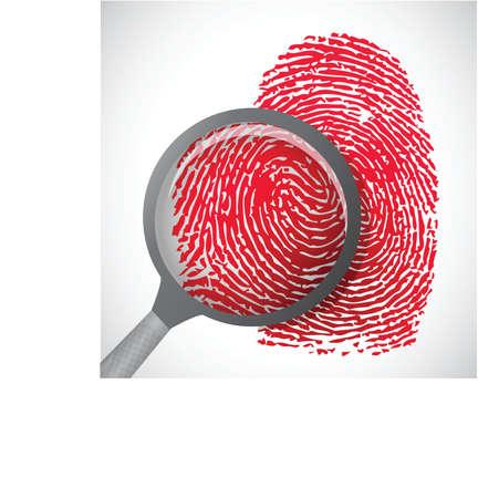 odcisk kciuka: fingerprint krwi przez szkło powiększające ilustracji projektowania
