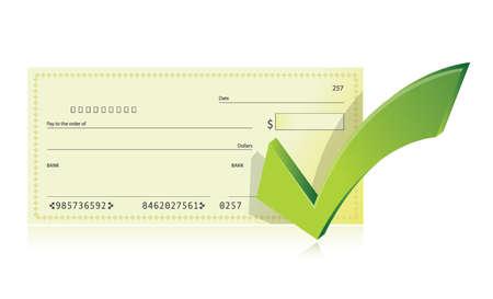 白い背景の上の銀行の小切手帳およびチェック マーク イラスト デザイン  イラスト・ベクター素材