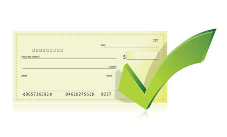 bank checkbook and check mark illustration design over a white background Stock Illustratie