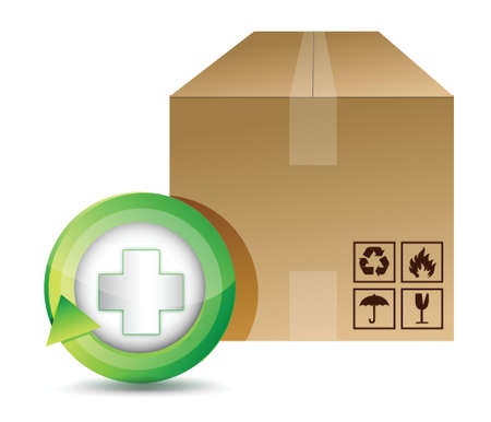 oversea: medical shipping box illustration design over a white background