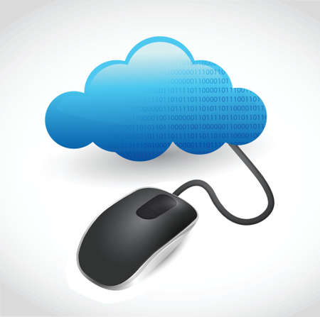 illustration of mouse connected to cloud design over white Vector