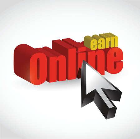 verdienen online tekst teken illustratie ontwerp op wit