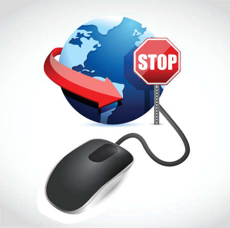 browsing is blocked by a stop sign illustration design